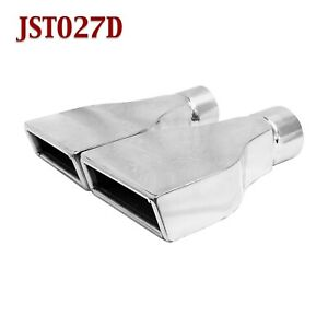 Jst027d Pair 2 5 Stainless Rectangle Camaro Exhaust Tips 2 1 2 Inlet 6 Wide
