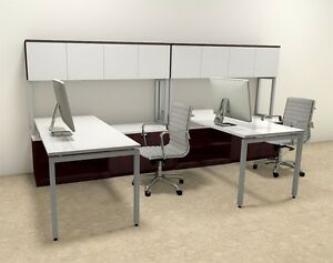 Two Persons Modern Executive Office Workstation Desk Set of con s8