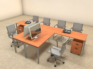 Two Persons Modern Executive Office Workstation Desk Set of con s11