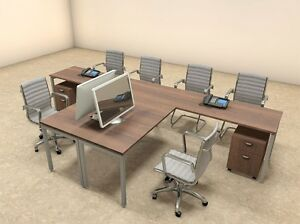 Two Persons Modern Executive Office Workstation Desk Set of con s14