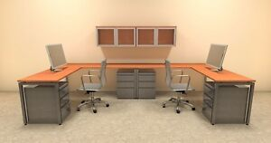 Two Persons Modern Executive Office Workstation Desk Set of con s16