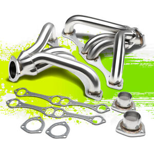 For Chevy Small Block Hugger 262 400 350 Angle Plug Head Exhaust Manifold Header