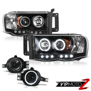 2002 2005 Dodge Ram Black Ccfl Angel Eye Headlights Halo Led Projector Fog Light
