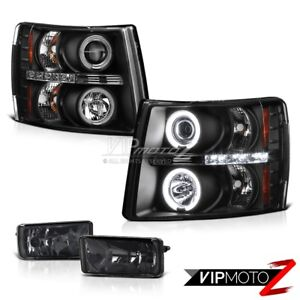 Chevy 07 2013 Gmt900 Silverado L R Ccfl Angel Eye Projector Headlights Fog Light
