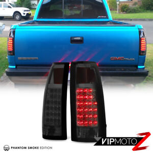 exclusive 88 98 Chevy Gmc C k Pickup Dark Smoke Led Rear Tail Lights Assembly