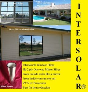 20 X10 Silver Chrome Mirror Window Tint Home Commercial Hp 2ply 5 Intersolar