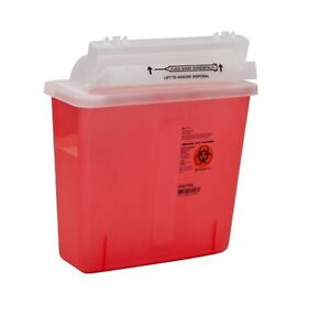 Sharps Container 5 Quart Red In room Multipurpose Lot Of 10 free Ship