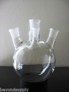 Lab Glass Flask 4 Four Neck Around Bottom 1000ml New