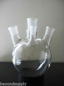 Lab Glass Flask 4 Four Neck Around Bottom 2000ml New