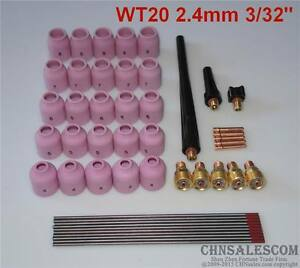 48 Pcs Tig Welding Kit Gas Lens For Tig Welding Torch Wp 9 Wp 20 Wp 25 Wt 3 32