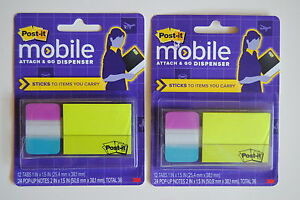Set Of 2 Post it Mobile Attach Go Dispenser Sticky Notes Flags Pm combo1