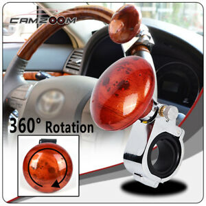 Brown Wood Car Truck Steering Wheel Spinner Handle Suicide Power Ball Clamp Knob