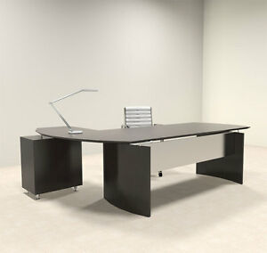 2pc Modern Contemporary L Shaped Executive Office Desk Set mt med o6