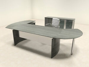 4pc Modern Contemporary L Shaped Executive Office Desk Set mt med o10