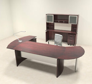 6pc Modern Contemporary L Shaped Executive Office Desk Set mt med o23
