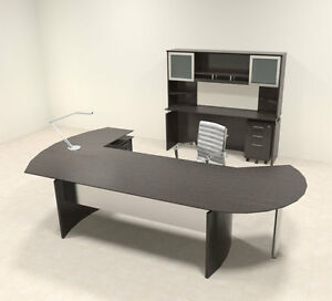 6pc Modern Contemporary L Shaped Executive Office Desk Set mt med o24