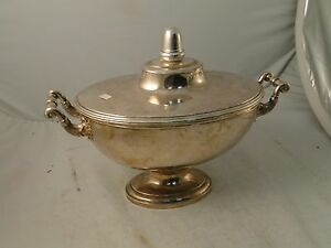 Soup Tureen Punch Bowl Silver Plated Large Size French Shape Unmarked C 1800