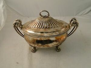 Soup Tureen Punch Bowl Silver Plated Medium Size French Shape Unmarked C 1800