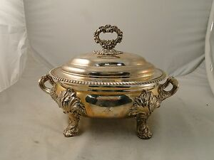 Soup Tureen Old Sheffield Plate Medium Size English Marked C1825 Clean