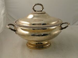 Soup Tureen Punch Bowl Silver Plated Medium Size English Marked C 1850 Clean
