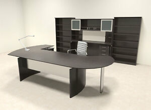 8pc Modern Contemporary L Shaped Executive Office Desk Set mt med o27
