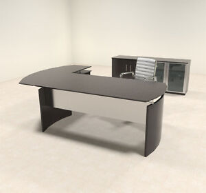 3pc Modern Contemporary L Shaped Executive Office Desk Set mt med o30