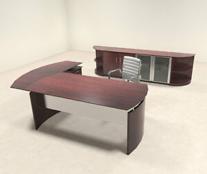 5pc Modern Contemporary L Shaped Executive Office Desk Set mt med o32