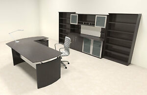 6pc Modern Contemporary L Shaped Executive Office Desk Set mt med o39