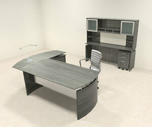 5pc Modern Contemporary L Shaped Executive Office Desk Set mt med o40