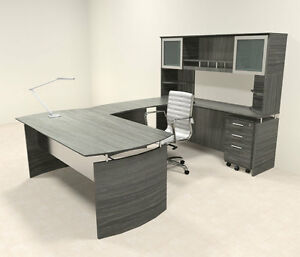 5pc Modern Contemporary U Shaped Executive Office Desk Set mt med u4