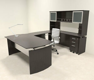 5pc Modern Contemporary U Shaped Executive Office Desk Set mt med u6