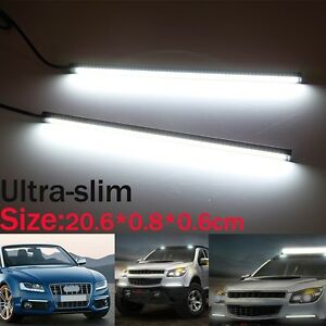 2x20 3cm Ultra slim Car Cob Led Lights Drl Fog Driving Lamp Waterproof Dc 12v Us