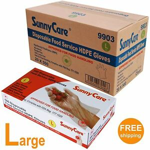 10 000 Poly Disposable Food Service Hdpe Gloves latex Vinyl Nitrile Free Large