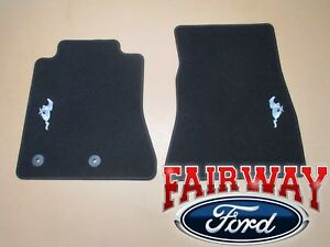 15 Thru 19 Mustang Oem Ford Black Carpet Floor Mat Set 2 pc W Pony Logo New