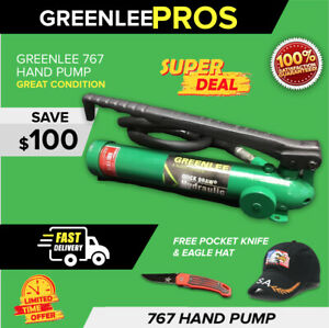 Greenlee 767 Hydraulic Hand Pump With Hose Preowned Fast Shipping