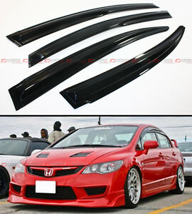 Mug Style Jdm Smoke Window Visor Rain Shade For 2006 2011 Fa Fa5 Honda Civic 4d