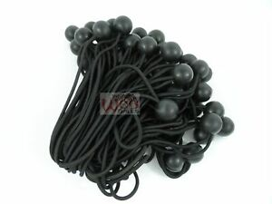 100pc 6 Ball Bungee Bungi Bungie Cord Tarp Tie Down Strap Canopy Black New
