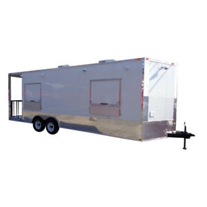 Concession Trailer 8 5 X 24 White Enclosed Custom Smoker Bbq Vending