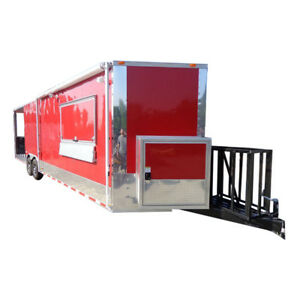 Concession Trailer 8 5 X 30 Smoker Event Bbq Catering Enclosed red Restroom