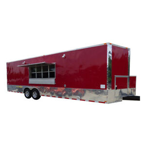 Concession Trailer 8 5 x28 Red Food Catering Enclosed Kitchen