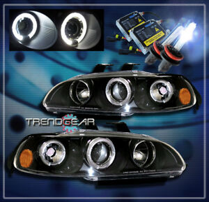 For 1992 1995 Honda Civic 2 3dr Halo Projector Headlight hid Kit Black 1993 1994