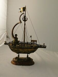 Neff Model Of A Boat Mixed Metal Antique Great Colours Great Details