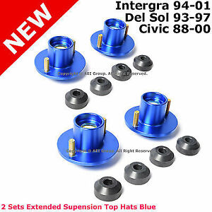 4 For Civic Del Sol Integra Suspension Lowering Extended Aluminum Top Hats Blue