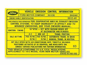 Mustang Emission Decal 4v 351 Cleveland Automatic Transmission 1972