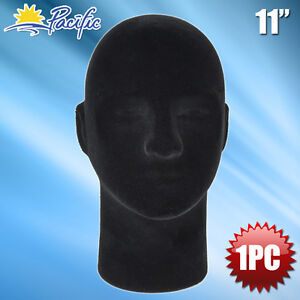 New Male Styrofoam Foam Black Velvet Mannequin Head Display Wig Hat Glasses 1pc