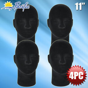 New Male Styrofoam Foam Black Velvet Mannequin Head Display Wig Hat Glasses 4pc