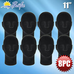 New Male Styrofoam Foam Black Velvet Mannequin Head Display Wig Hat Glasses 8pc