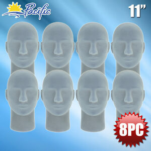 New Male Styrofoam Foam Grey Velvet Mannequin Head Display Wig Hat Glasses 8pc