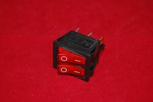 2pcs Double 2 Position Boat Rocker Switch 6 Pin Red Light Illuminated 120v Ac