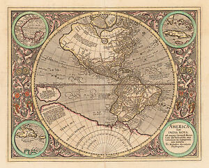 Antique Map Of The Western Hemisphere By Mercator 1613